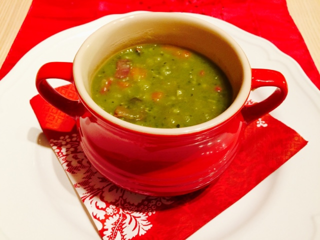Traditional Finnish pea soup with smoked meat