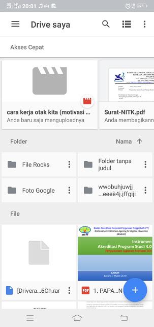 tampilan Google Drive versi smartphone
