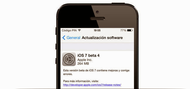 iOS 7 beta 4 ya disponible