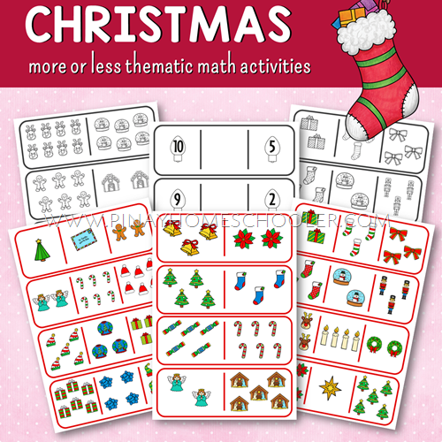 Christmas Themed Comparing Numbers Learning Materials