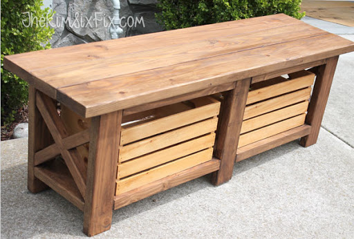 Rustic X Leg Wooden Bench With Built In Crate Storage Made