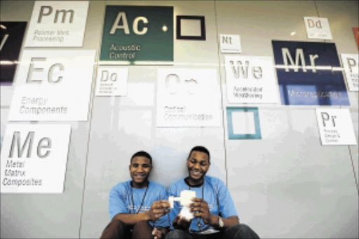 INVENTORS: Thami Hoza and Bokamoso Molale from Simon's Town High School in the Western Cape, the pair has designed a shower nozzle solution Photo: Moeletsi Mabe