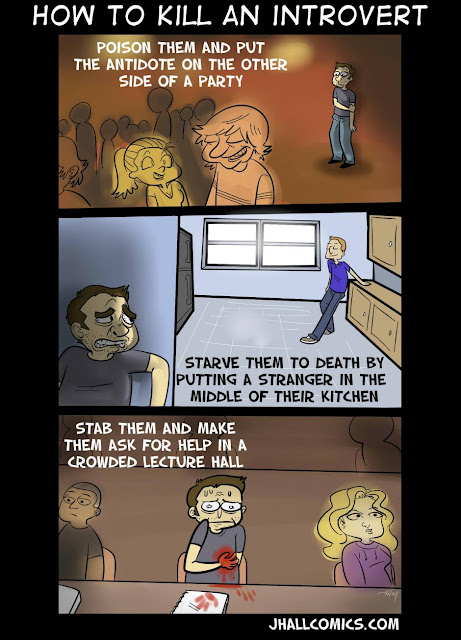 JHallComics - How to Kill an Introvert, Stranger in Kitchen, Lecture Hall, Party