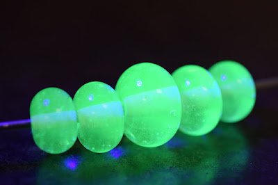 Antique Uranium Glass Lampwork Beads by The Big Purple Barn