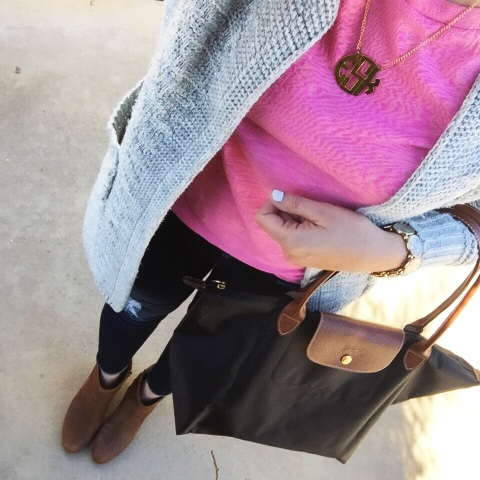 monogram necklace, ankle boots