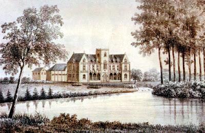 Het Kasteel van Meldert in een idyllische omgeving rond 1855.