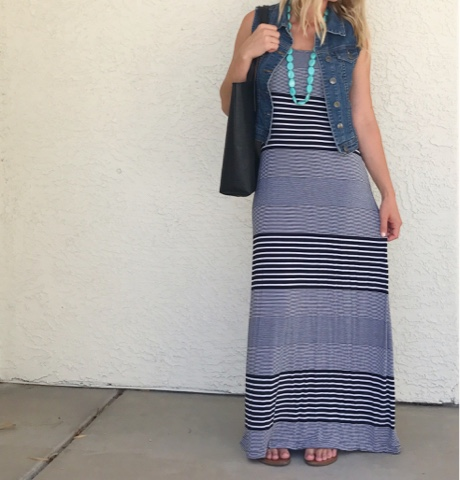 Thrifty Wife, Happy Life || Summer Wardrobe Favorites-stripe maxi dress with denim vest