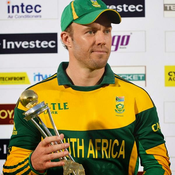 South African captain AB de Villiers holds the ODI series trophy after victory in the third and final One Day International (ODI) cricket match between South Africa and Sri Lanka at the Mahinda Rajapaksa International Cricket Stadium in Hambantota on July 12, 2014.