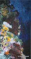 'Korallen mit Hai', Öl auf Leinwand, 36x65, 2003, verkauft