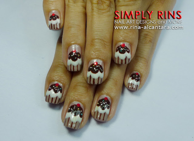 Chocolate Cupcake Nail Art Design 04