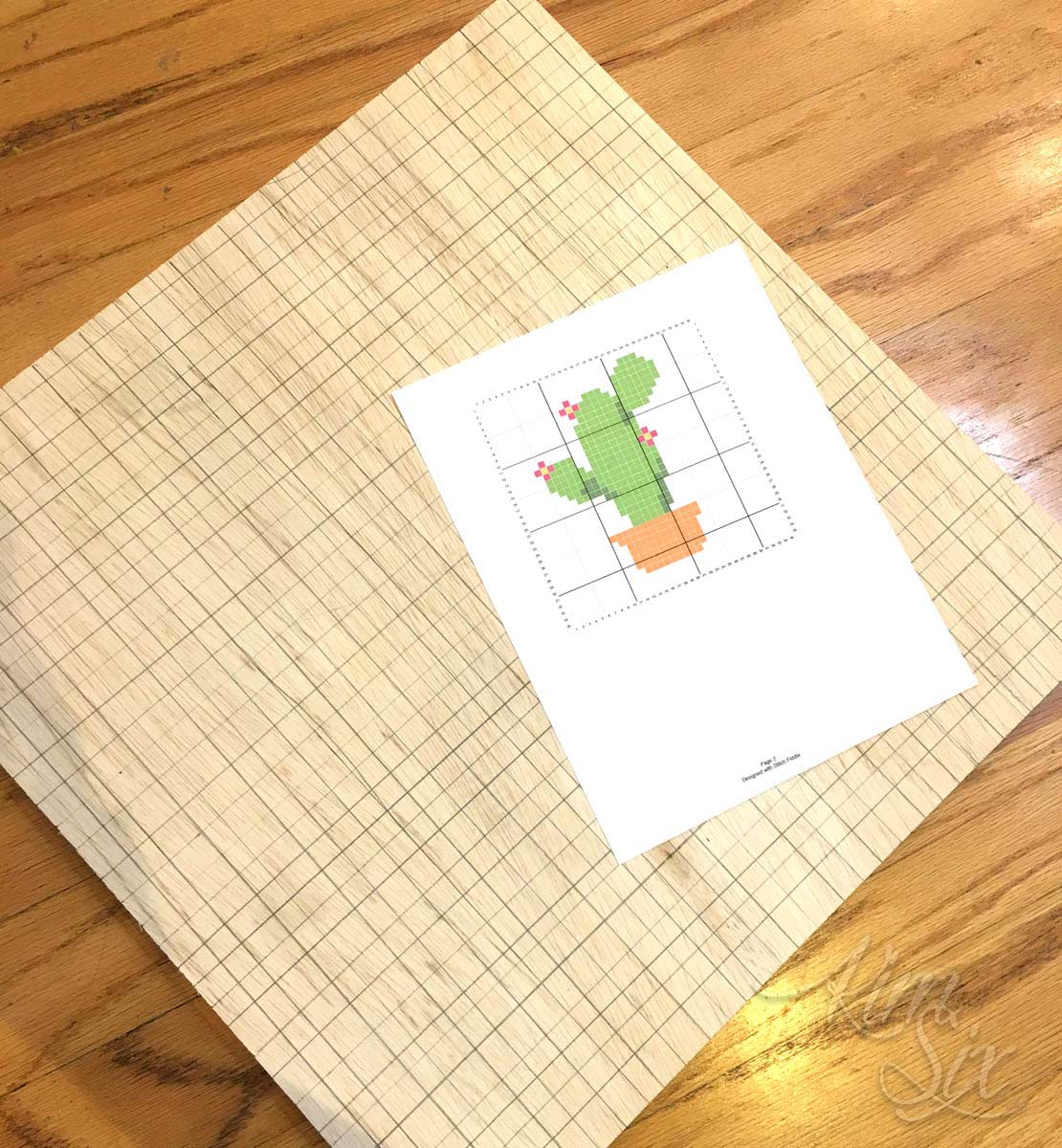 Plywood board with grid for xstitch