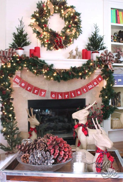 Merry christmas red and plaid rustic mantel