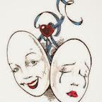 happy sad - Clown and Mask Tattoos Designs