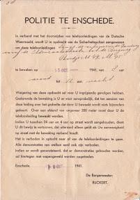 Oproep om deel te nemen aan de kabelwacht in Enschede. Oktober 1941.