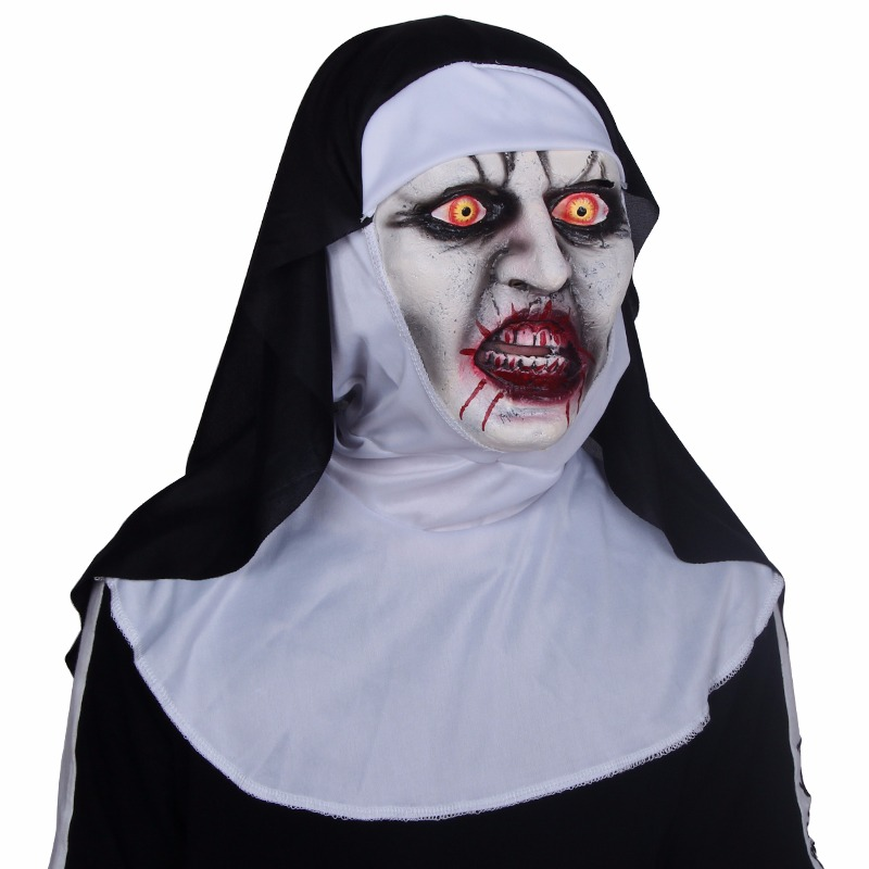Horror Scary Nun Mask - Cosplay Valak Scary Latex Masks with Headscarf Full Face Helmet for Parties