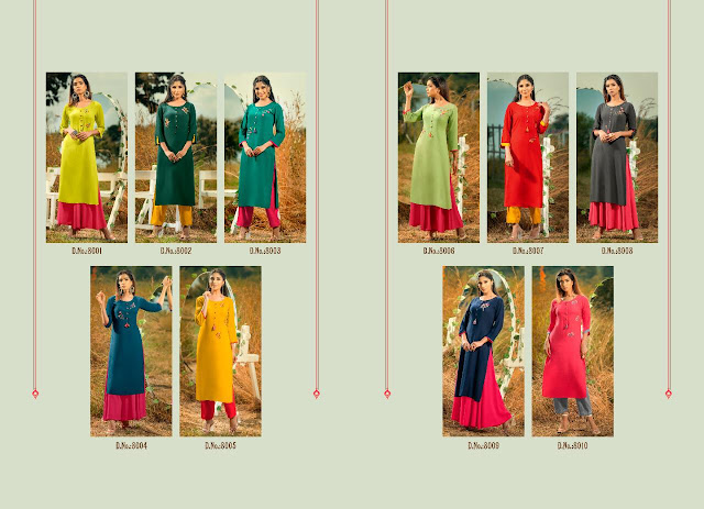 Pysna Poshak Vol 8 Rayon Hand Work Kurtis Wholesale