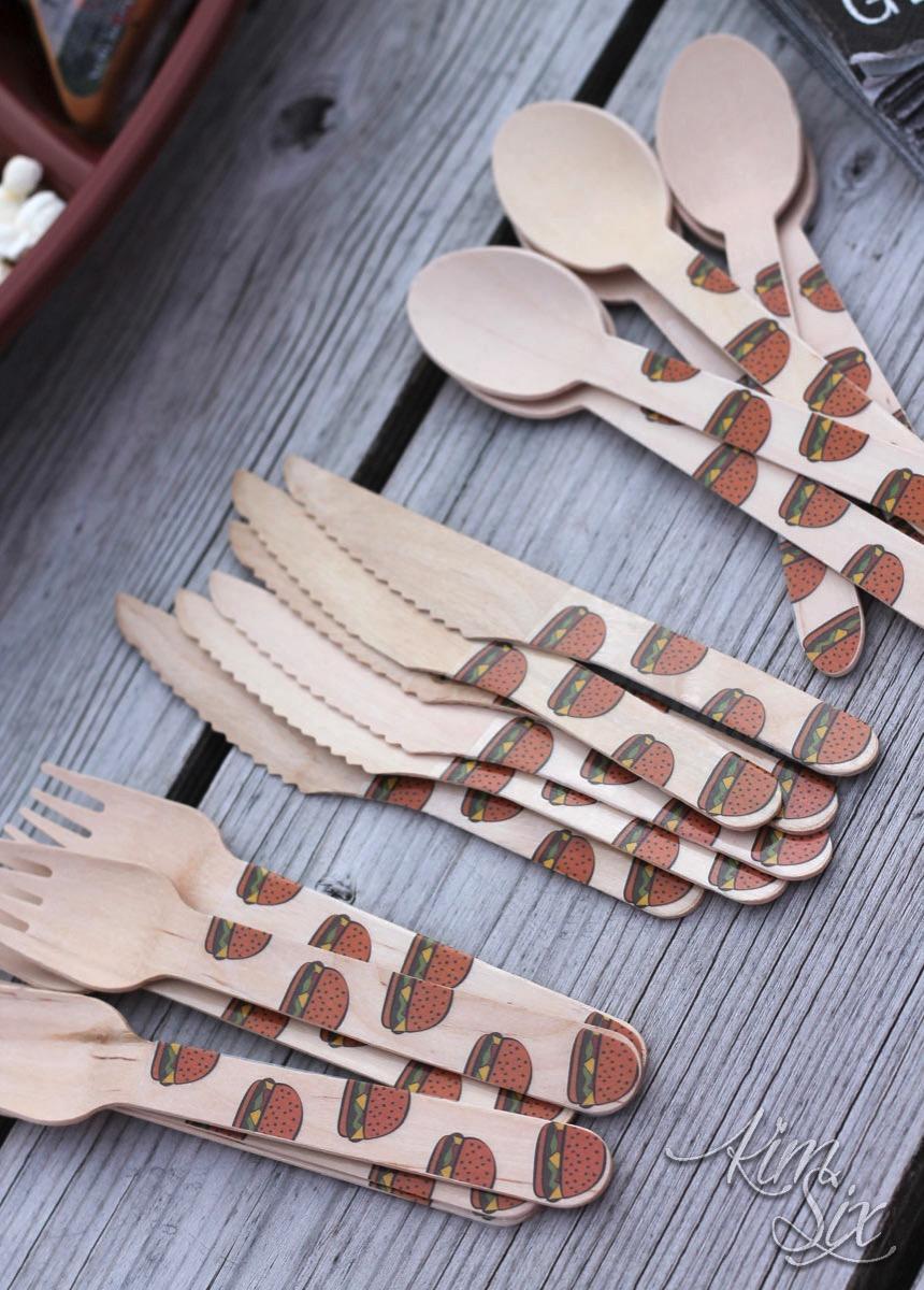 Disposable bamboo cutlery for barbaque