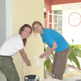 Kristen and Paxton cleaning up