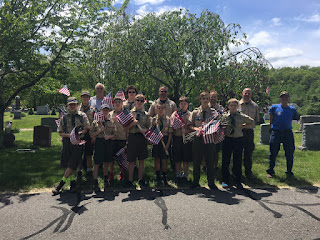 Troop 39 Places Veterans' flags in the cemetary for Memorial Day 2017