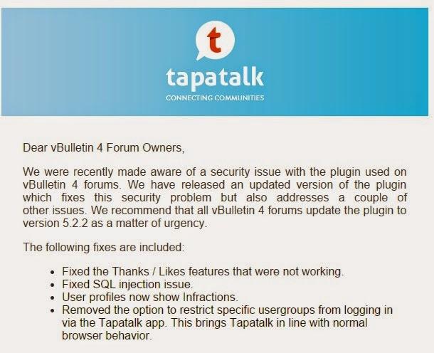 IMPORTANT!] Tapatalk for vBulletin multiple SQL injection