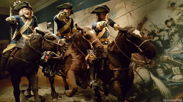 Life size charging cavalry model at the top floor of the Swedish Army Museum (Armémuseum)