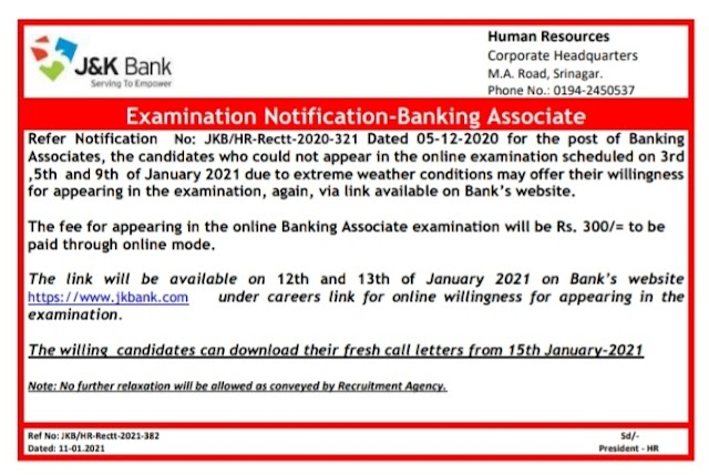 JK Bank Banking Associate Exam | Link for those Who Missed Exams on 3rd, 5th, 9th Jan 2021 | Re-Apply Here
