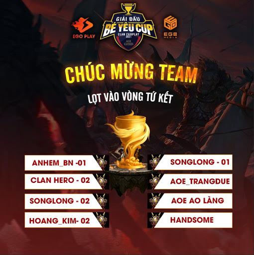 Bát cường tranh đấu - những team xuất sắc nhất bước vào Tứ Kết - Ao Bé Yêu Cup - CLan EgoPlay đã lộ diện.
