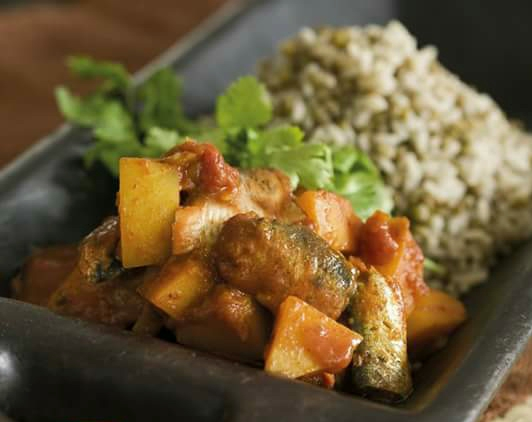 Butternut and Potato Curry with Lentil Rice
