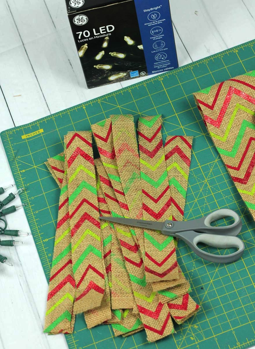 Cutting Burlap Strips for Garland