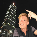 pointing to Taipei 101 in Taipei, T'ai-pei county, Taiwan