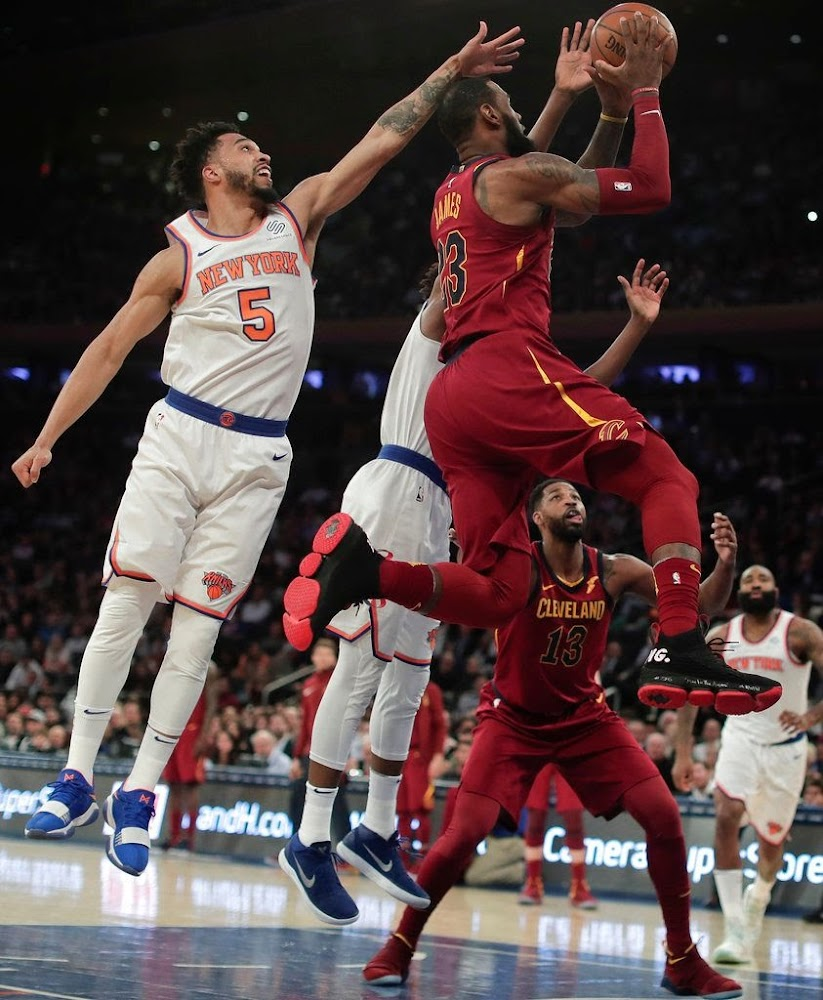 100% authentic fdd54 03226 LeBron James Returns to New York in