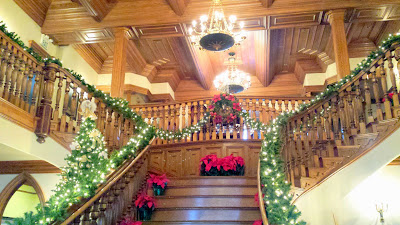 The cheerful foyer decked out for the holidays at Ledson Tasting Room in Kenwood