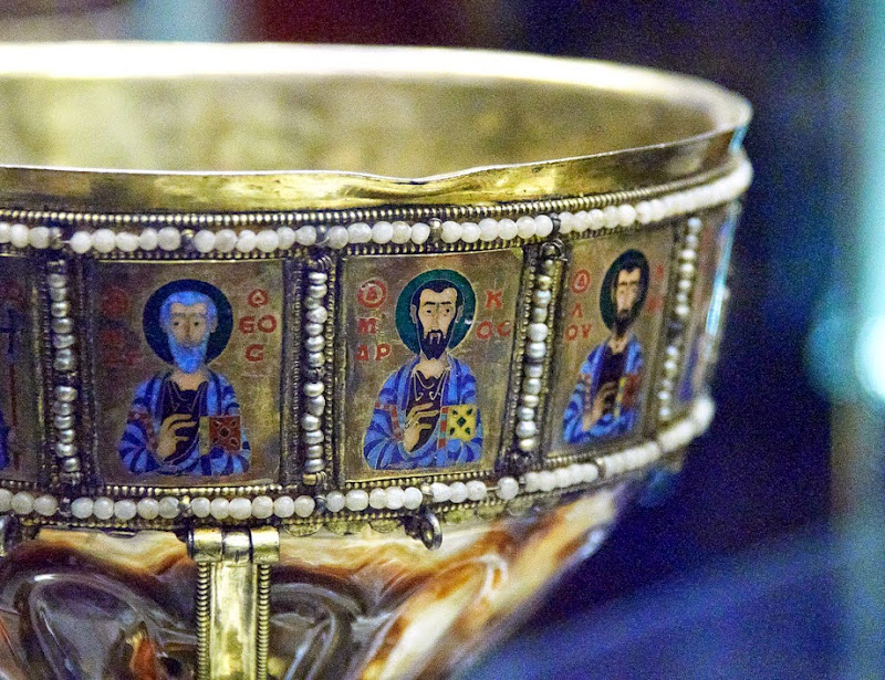 78. Chalice of Emperor Romanos II (sardonyx, silver gilt, cloisonne enamel & pearl). X Century. Detail. The Treasury of the Patriarchal Cathedral Basilica of Saint Mark. Venice. 2013
