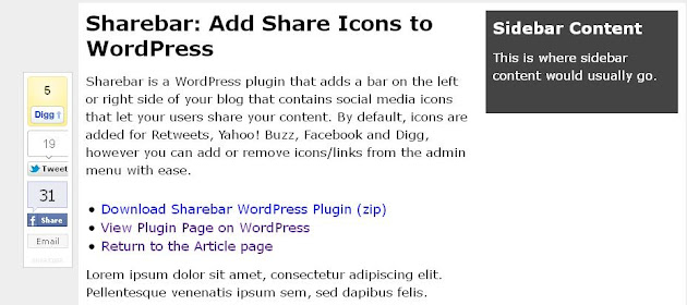 Sharebar WordPress Plugin
