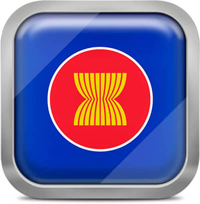 Association of Southeast Asian Nations square flag with metallic frame