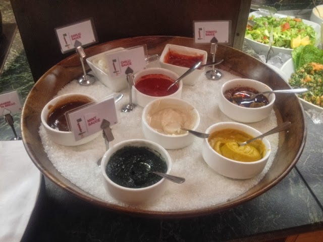 Mint sauces, garlic sauce and mustard at the Rodizio Lebanon buffet