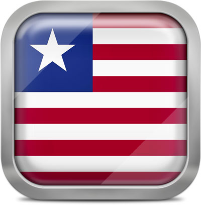 Liberia square flag with metallic frame