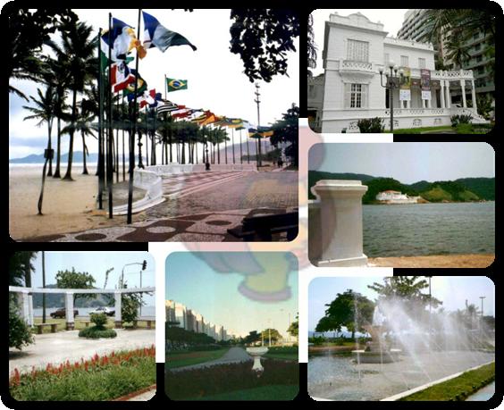 Praça das Bandeiras (bairro Gonzaga), Pinacoteca Benedito Calixto (Boqueirão), vista da Fortaleza da Barra (calçada da Ponta da Praia), caramanchão da Ponta da Praia, trecho do jardim da praia de Santos e Fonte do Sapo (bairro Aparecida) - Santos/SP