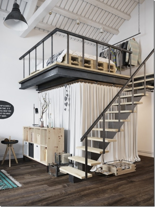 case e inetrni - mini loft praga - stile scandinavo (8)