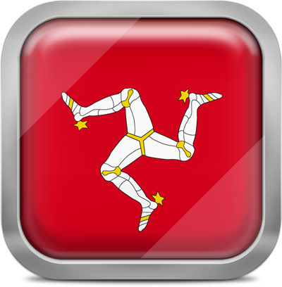 Isle of Man square flag with metallic frame