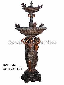 Birds, Bronze, Fountain, Statue, Women