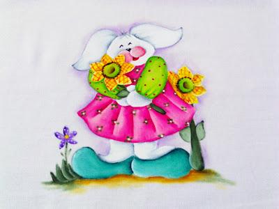 """""""pintura de coelhinha com girassol"""""""