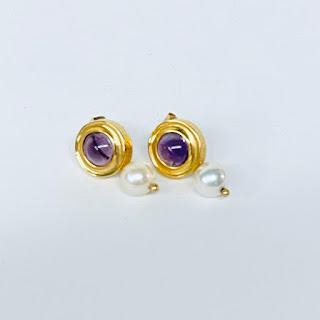 14K Gold, Pearl, and Amethyst Earrings