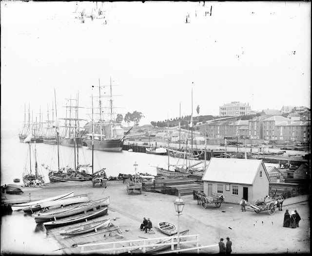 Port of Hobart with Lenna at the top of the Hill on Battery Pt (1890)