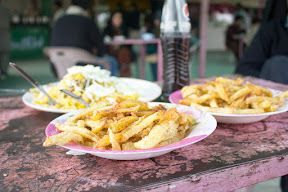 Biryani and fries from the cafeteri