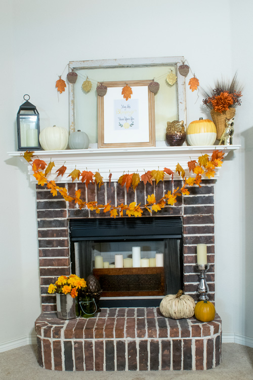 Mantel decorated for Fall