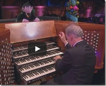 "Sesame Street's Count von Count enjoys ""The Twelve Days of Christmas"" with the Tabernacle Choir's organist."