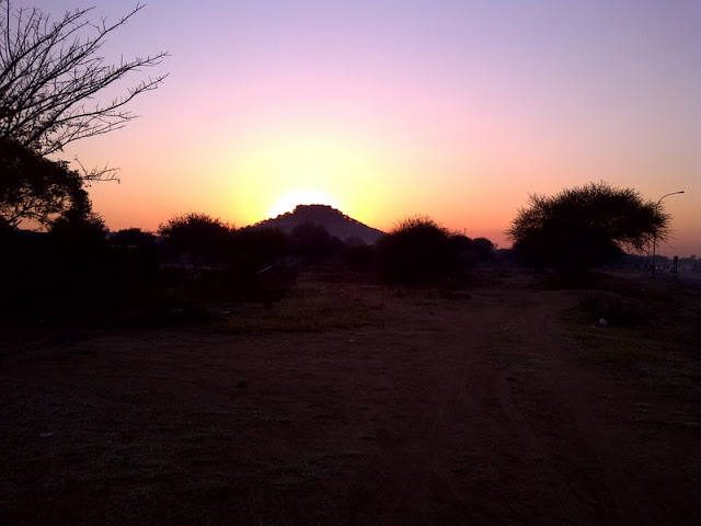 Botswana sunrise, seen on te way to work