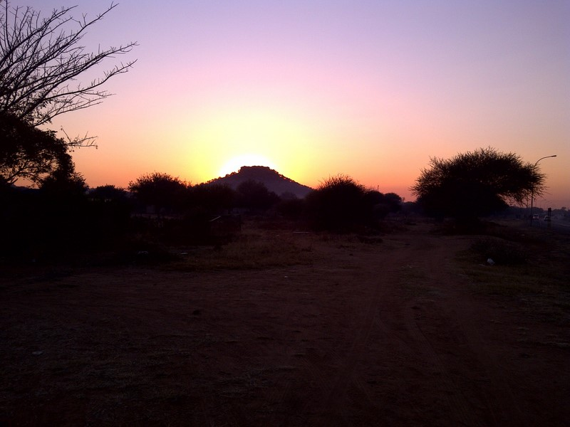 Botswana sunrise, seen on te way to work