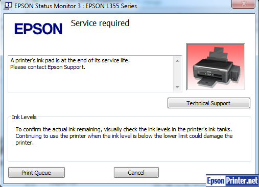 Epson XP-340 Series show error on computer